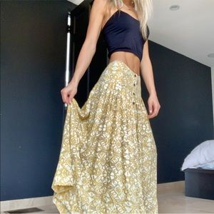 NWT Free People Muted Yellow Printed Maxi Skirt